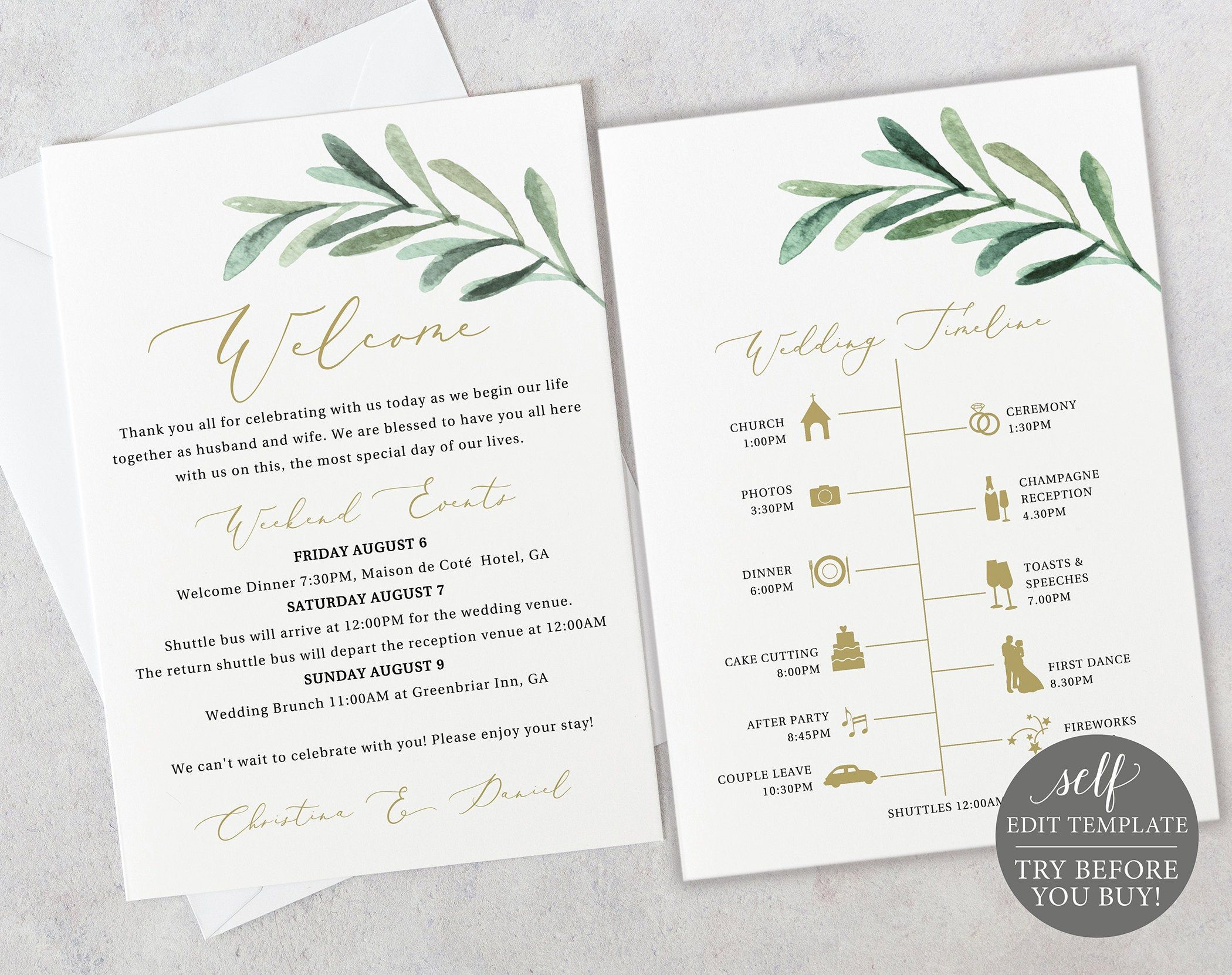 Wedding Itinerary Card Template Greenery Leaf Editable Etsy Wedding Itinerary Printable Wedding Invitations Bridal Shower Welcome Sign
