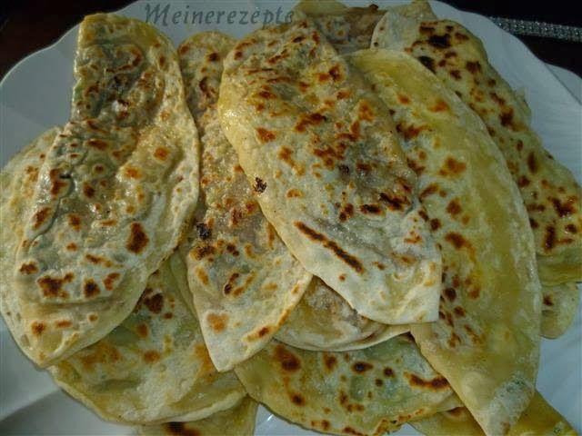 Türkische Pfannenbörek mit hackfüllung,kiymali gözleme,Türkische