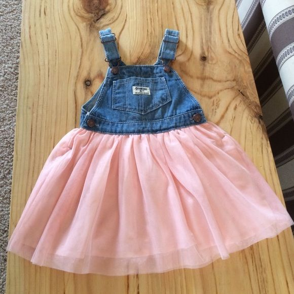 Oshkosh Toddler 3t Overall Dress Denim Overall Tulle
