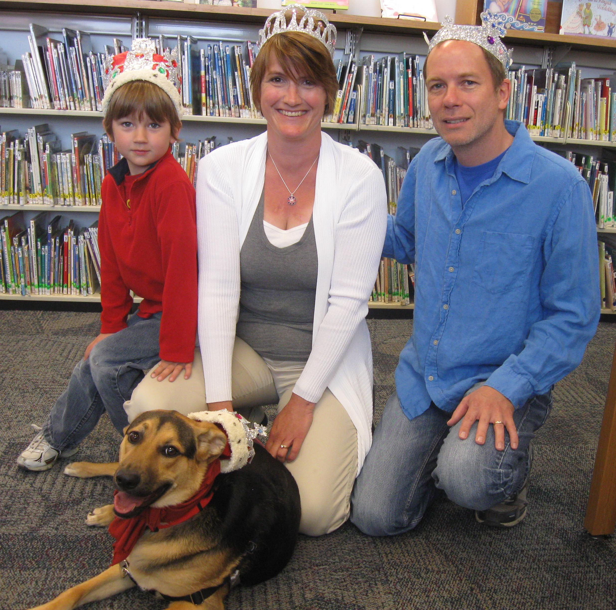 The Knudson Family (Craig, age 5, and his parents Ilona and Russell) and Kipper, Keeper of the Peace in the Canine Kingdom, celebrated Queen Elizabeth's birthday at Royal Dog Day at Atlantic County Library System/Brigantine on Saturday, April 21.