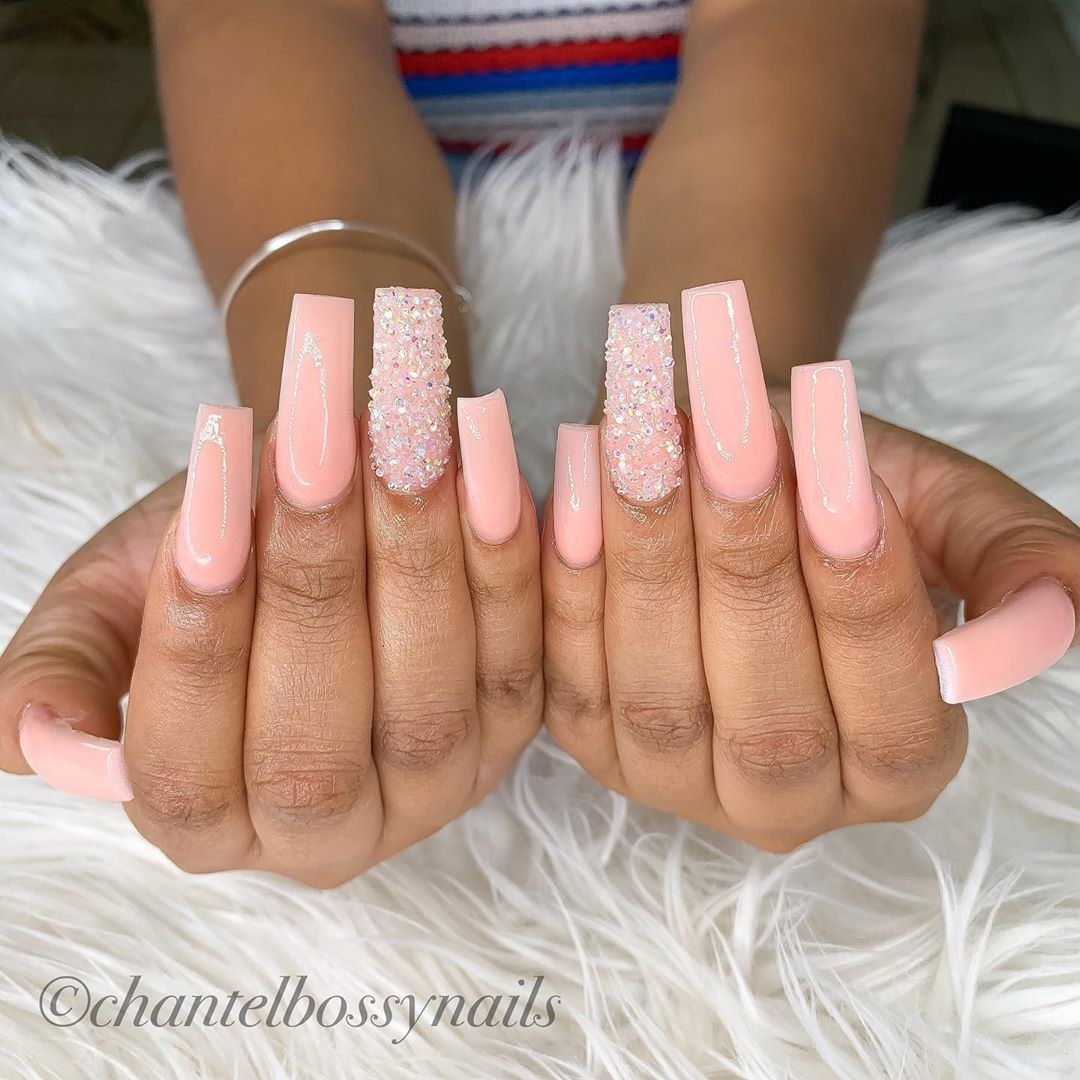 Chantelbossynails On Instagram Colored Acrylic W Pixie Crystals 704nails Valentinobeautypure Cha Nails China Nails Nails Inspiration