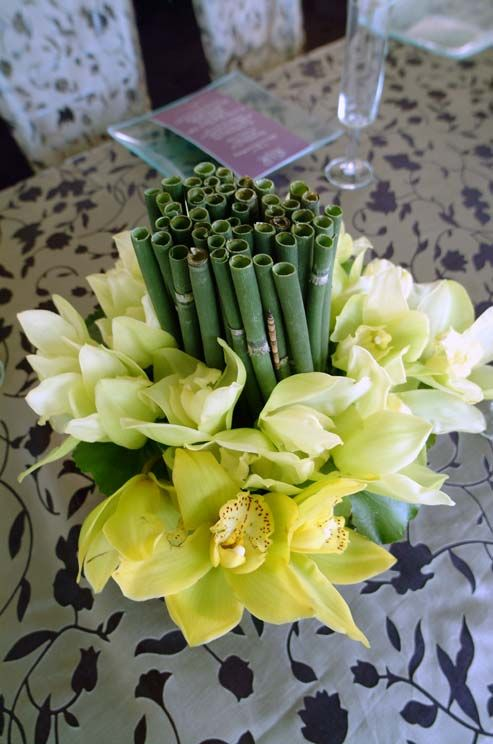 Bright green orchids surround a cluster of reeds for a simple and handsome centerpiece.