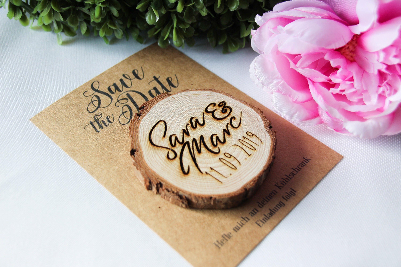 10 x Save the Date Hochzeit Holz vintage Save