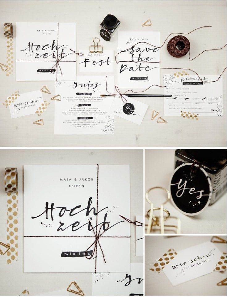 Hochzeitspapeterie im Kalligrafie-Stil