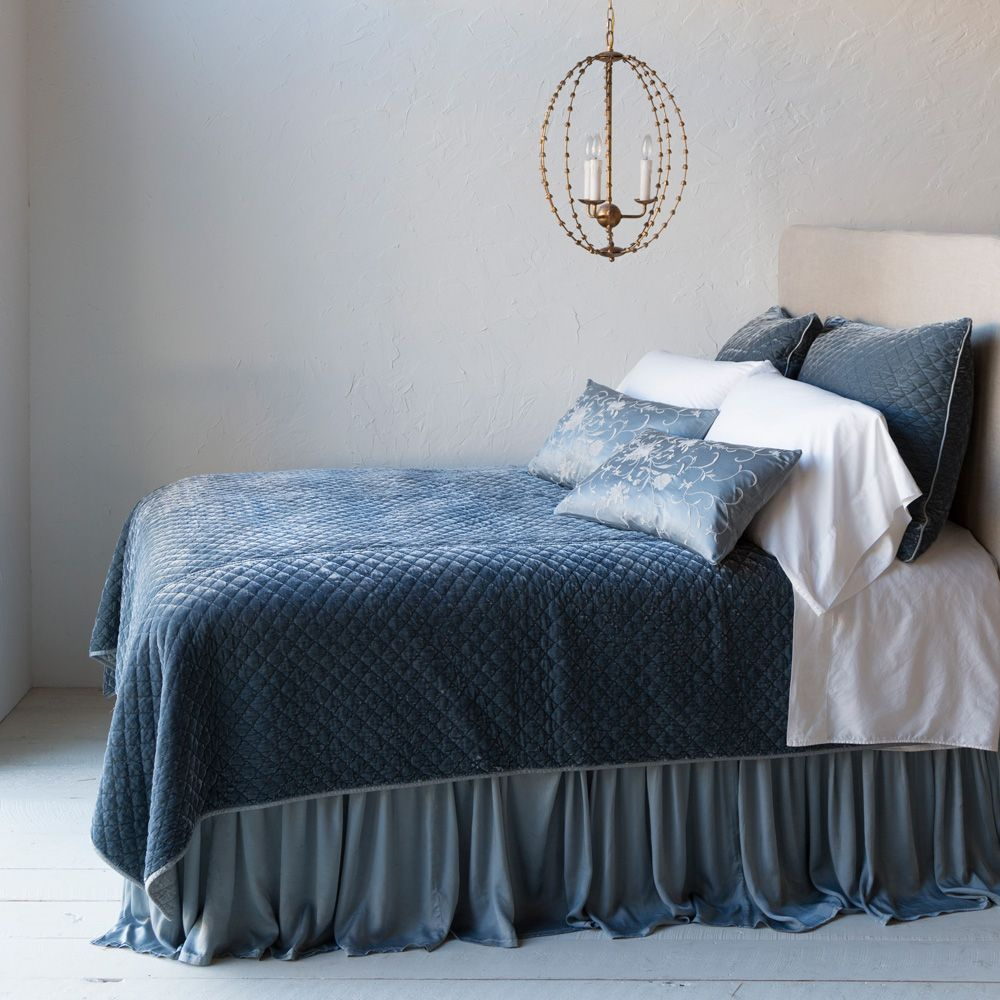 Bella Notte Linens Silk Velvet Quilted Coverlet (With