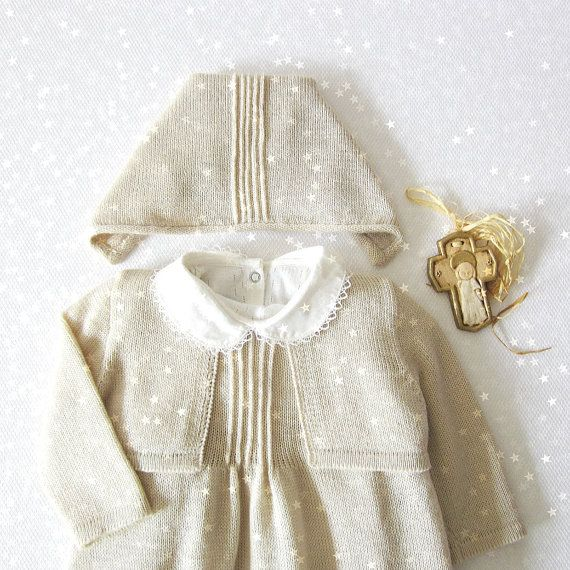 Knitted Christening Gown in pearl. Dress, coatee, cap and shoes