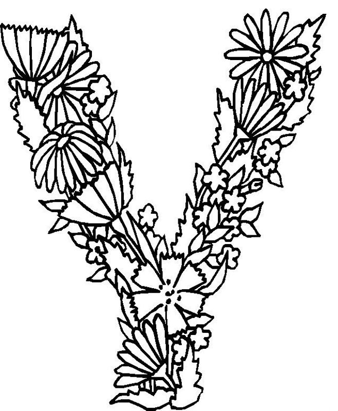 flower alphabet coloring pages - photo#11