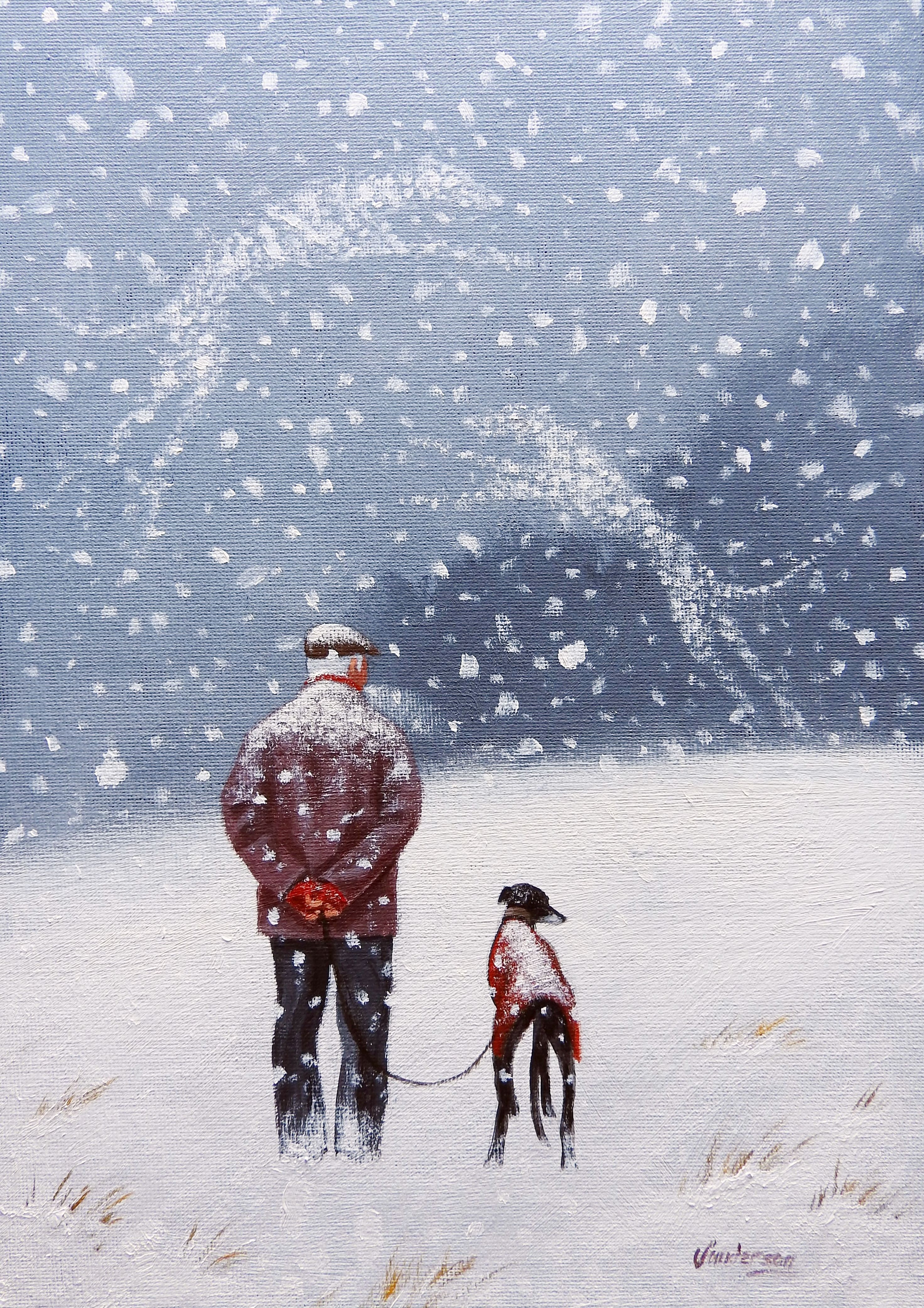 Fine Art Greeting Card Remembering Christmas Past Acrylic On Board