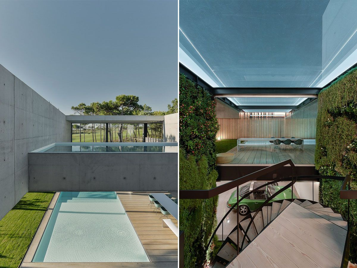 See The Stunning Sintra Cascais National Park From The Comfort Of Four Pools  In This Sqm, Concrete Block And Wooden Raftered Dream Home In Portugal.