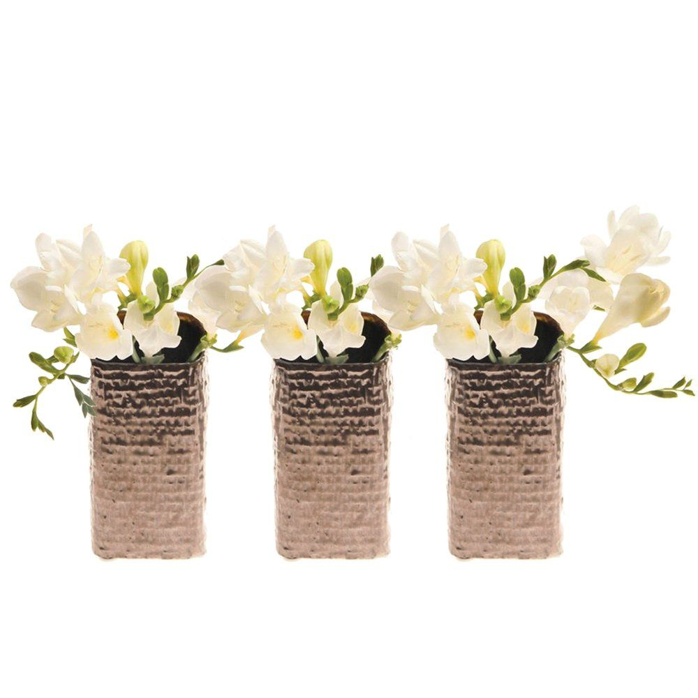 Chive weave small square ceramic bud flower vase