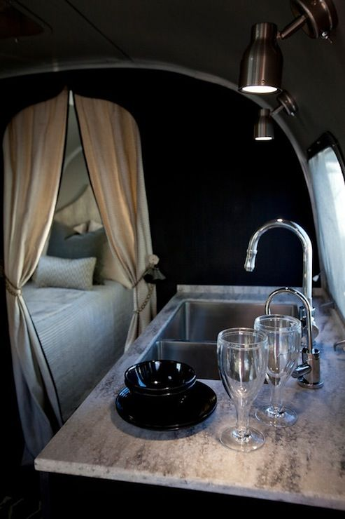 airstream - glamping! trailer/camper with black walls paint color