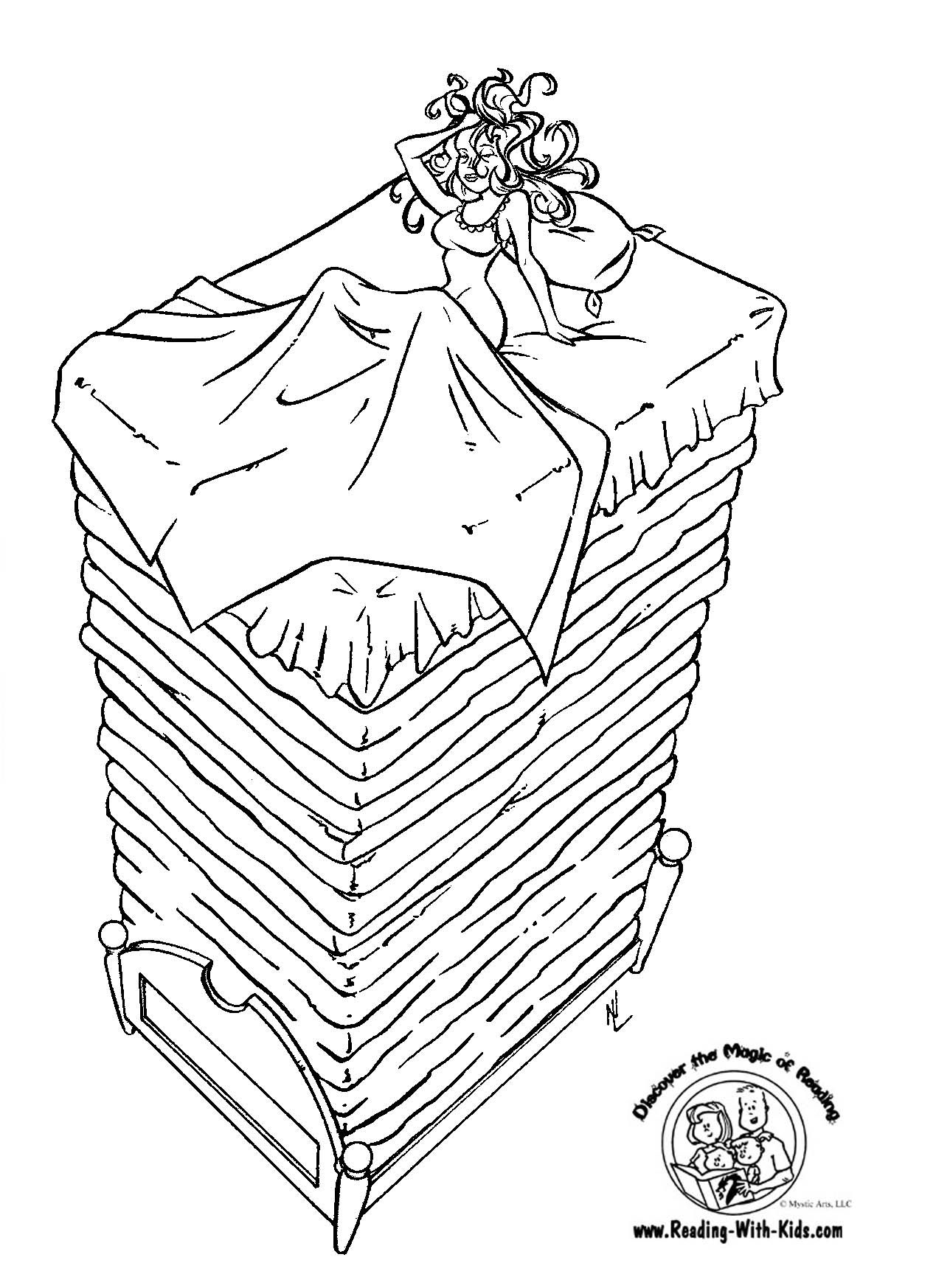 princess and the pea coloring page. princess and the pea fairy tale coloring page a
