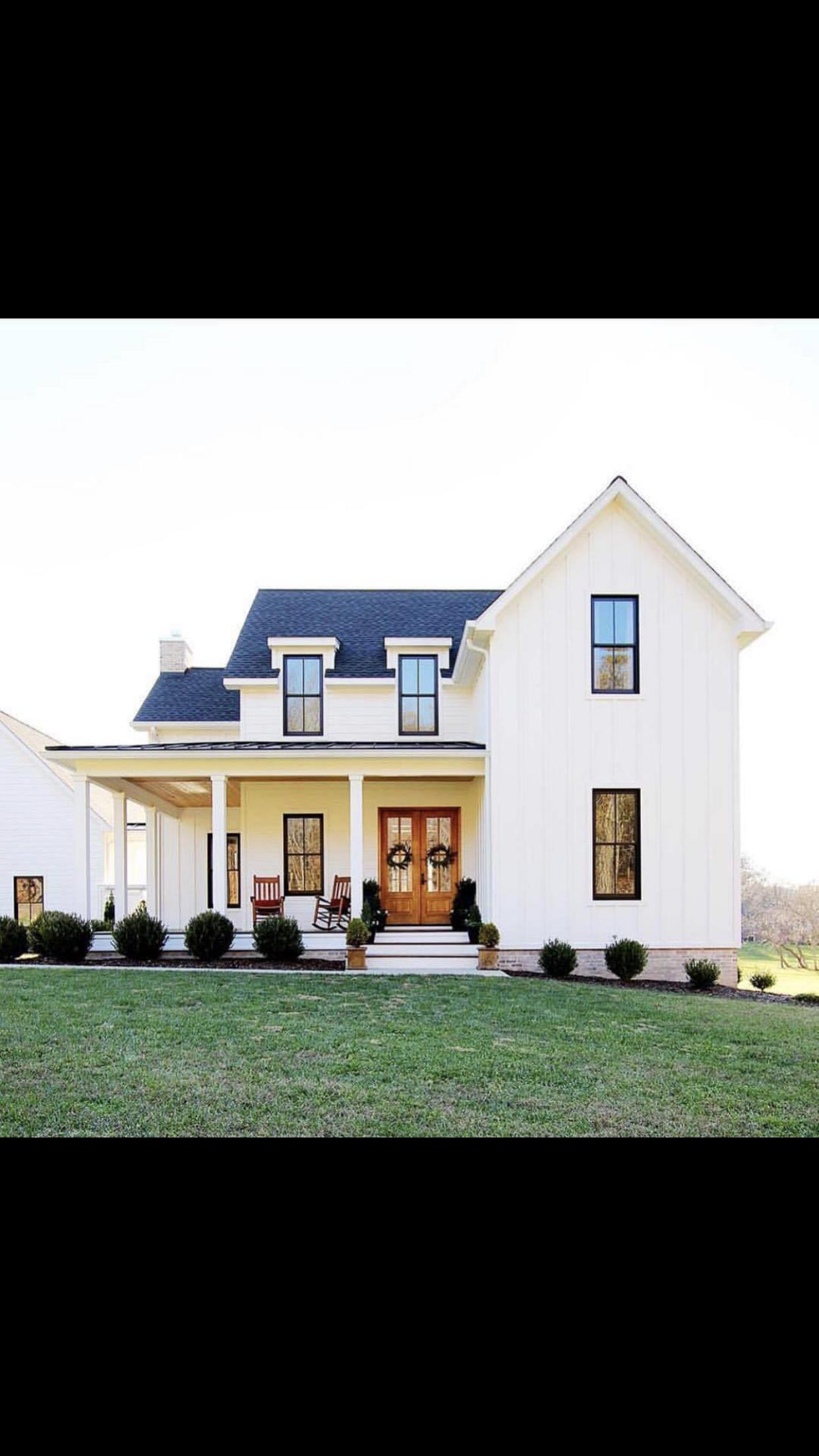 Super White Farmhouse With Black Windows And Front Porch Rocking Creativecarmelina Interior Chair Design Creativecarmelinacom