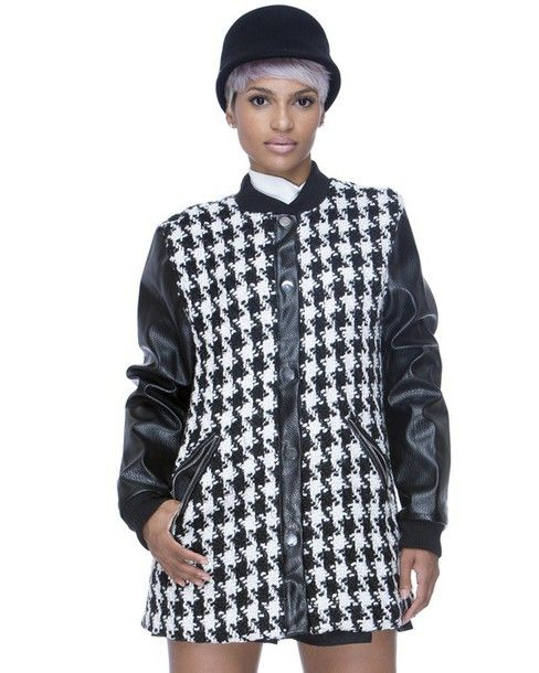 f401867e99 Black and white #coat   °○ Houndstooth Lover ○°   Houndstooth coat ...