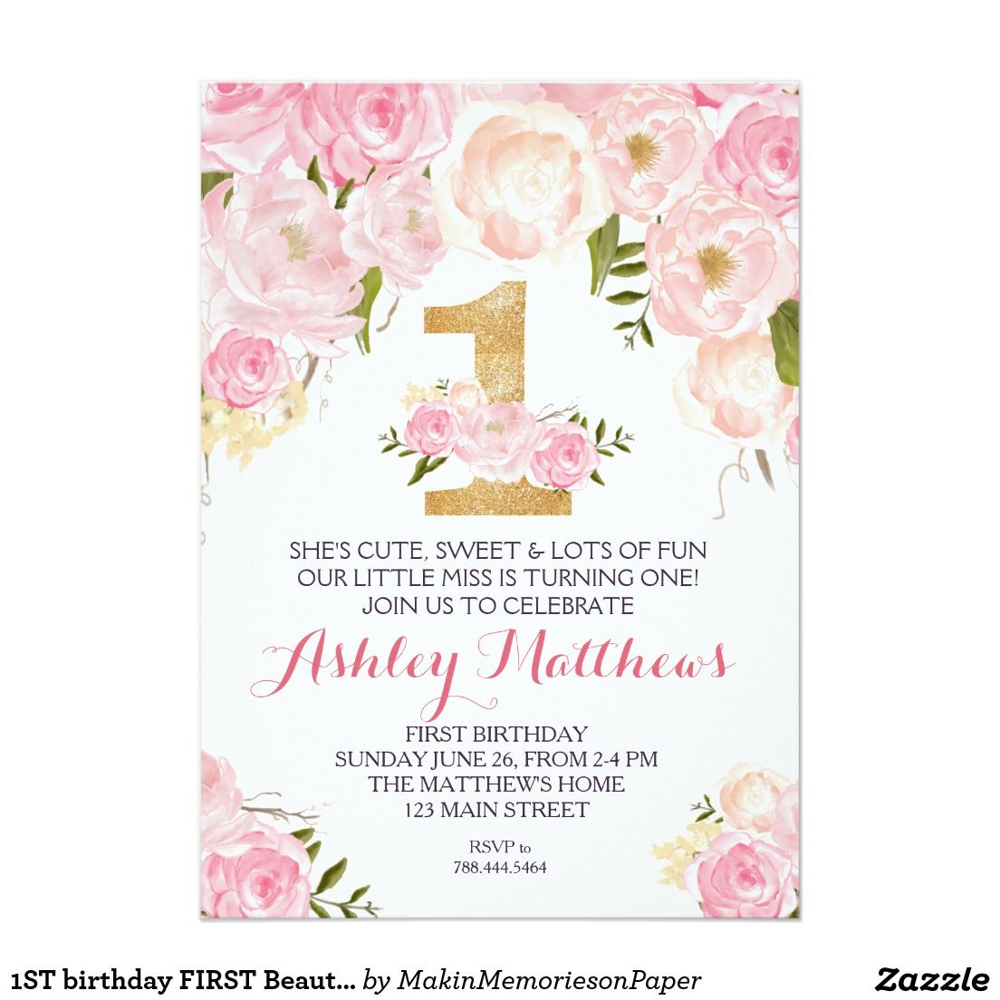 1st Birthday First Beautiful Floral Invitation Card Floral