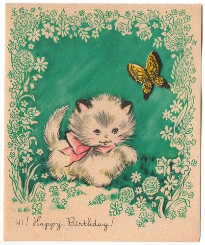 Vintage kitten birthday card Vintage Pinterest – Birthday Cards for Cats