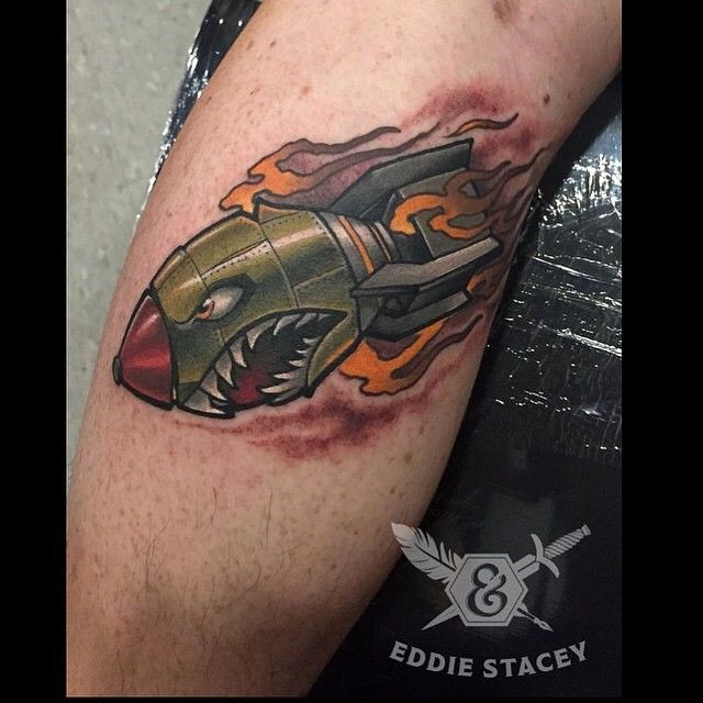 Bomb tattoo by @eddiestacey at @inkanddaggertattoo in Roswell, GA #tattoosnob…