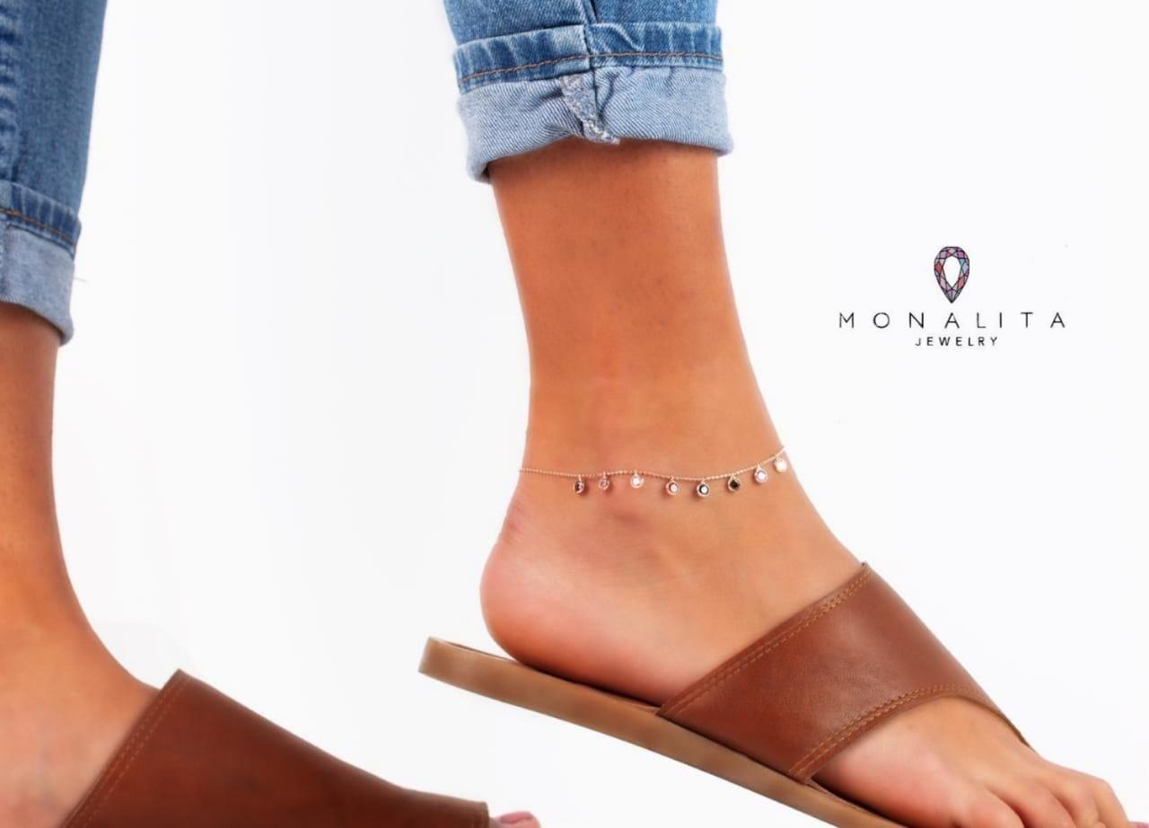 خلخال أنيق من الفضة الخالصة عيار 925 والمطلي بالذهب ومرصع بحبيبات الزريكون Anklet Jewelry Anklet Heeled Mules