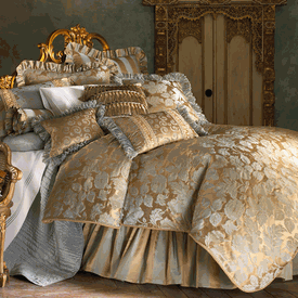 Anastasia Floral Jacquard Blue And Gold Duvet Bedding