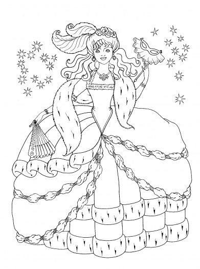 Princess Dress Coloring Pages | Princess In Her Dress coloring ...