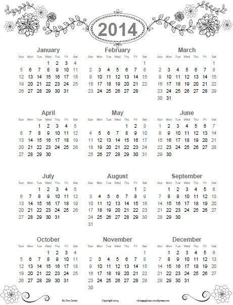 Free Doodled Floral 2014 Annual Calendar from Vintage Glam Studio