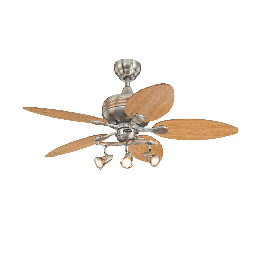 Westinghouse Xavier 44 In Brushed Nickel With Copper Accents Ceiling Fan 7226565 The Home Depot Ceiling Fan Brushed Nickel Ceiling Fan Ceiling Fan With Light