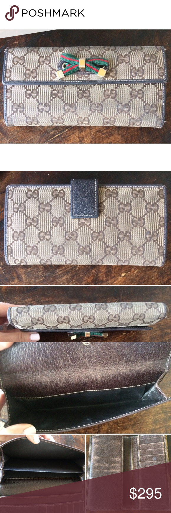 dfd6429877b Gucci top continental signature wallet with bow! Authentic Gucci top  continental signature wallet with bow! Pre loved and does have some wear  but lots of ...