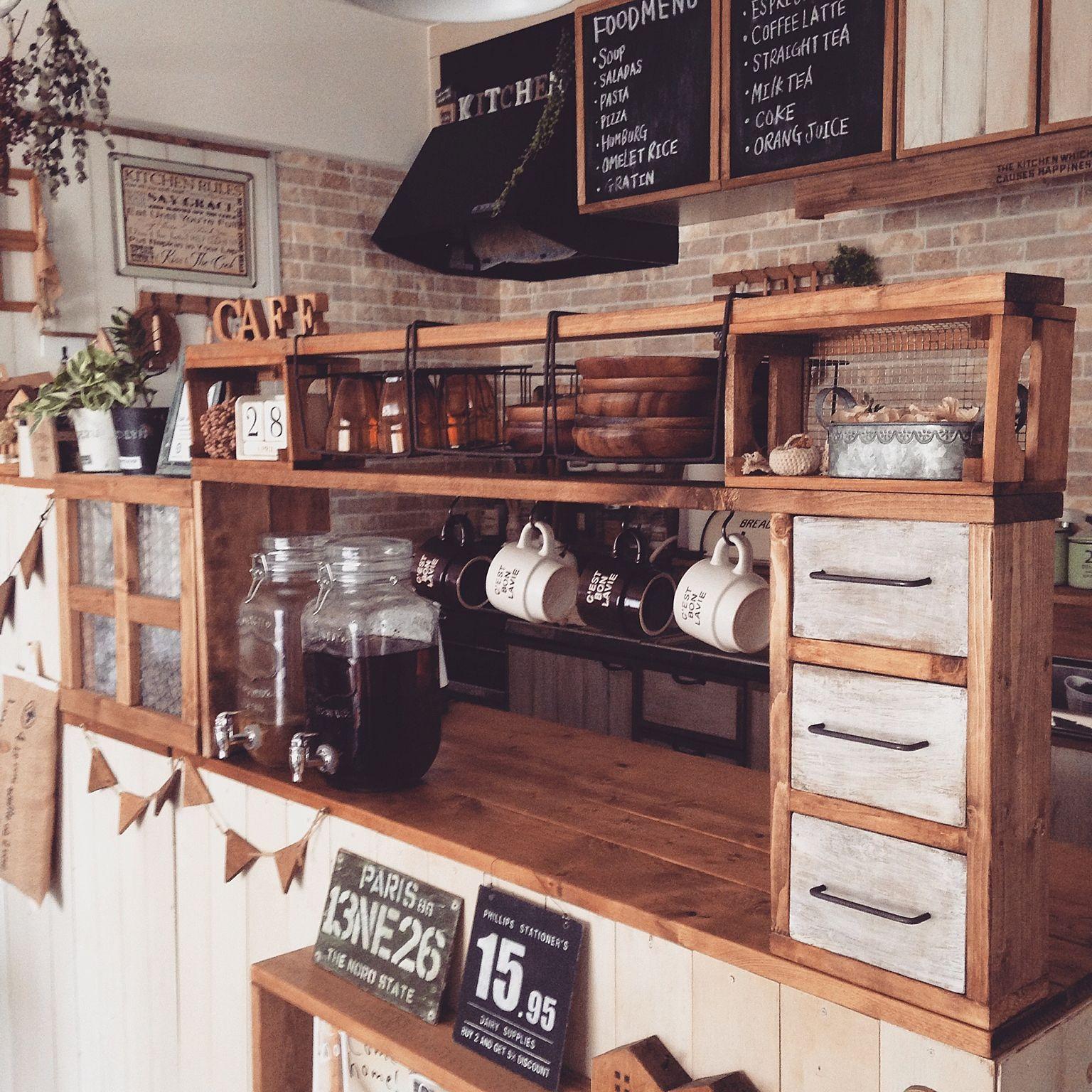キッチン 作り方はブログに載せてます 300円ショップの木箱 ドリンク