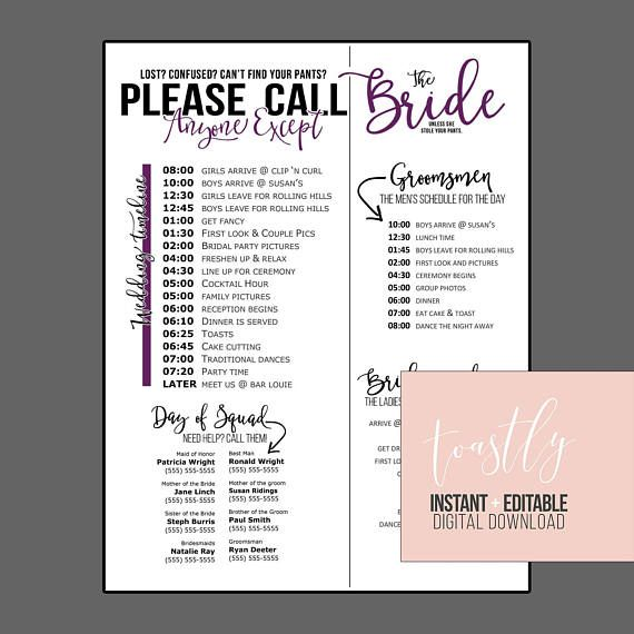 Wedding Schedule Template - Purple - Timeline of Events, Phone