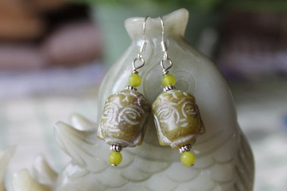 Green Jade Buddha Earrings sterling silver by JianBeadsJewelry, $22.00