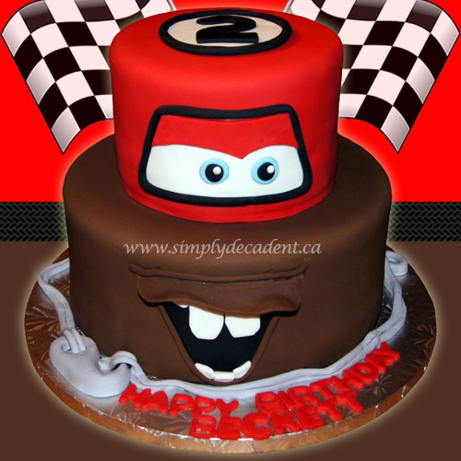 Groovy 2 Tier Disney Cars Fondant Lightening Mcqueen Mator Birthday Personalised Birthday Cards Veneteletsinfo