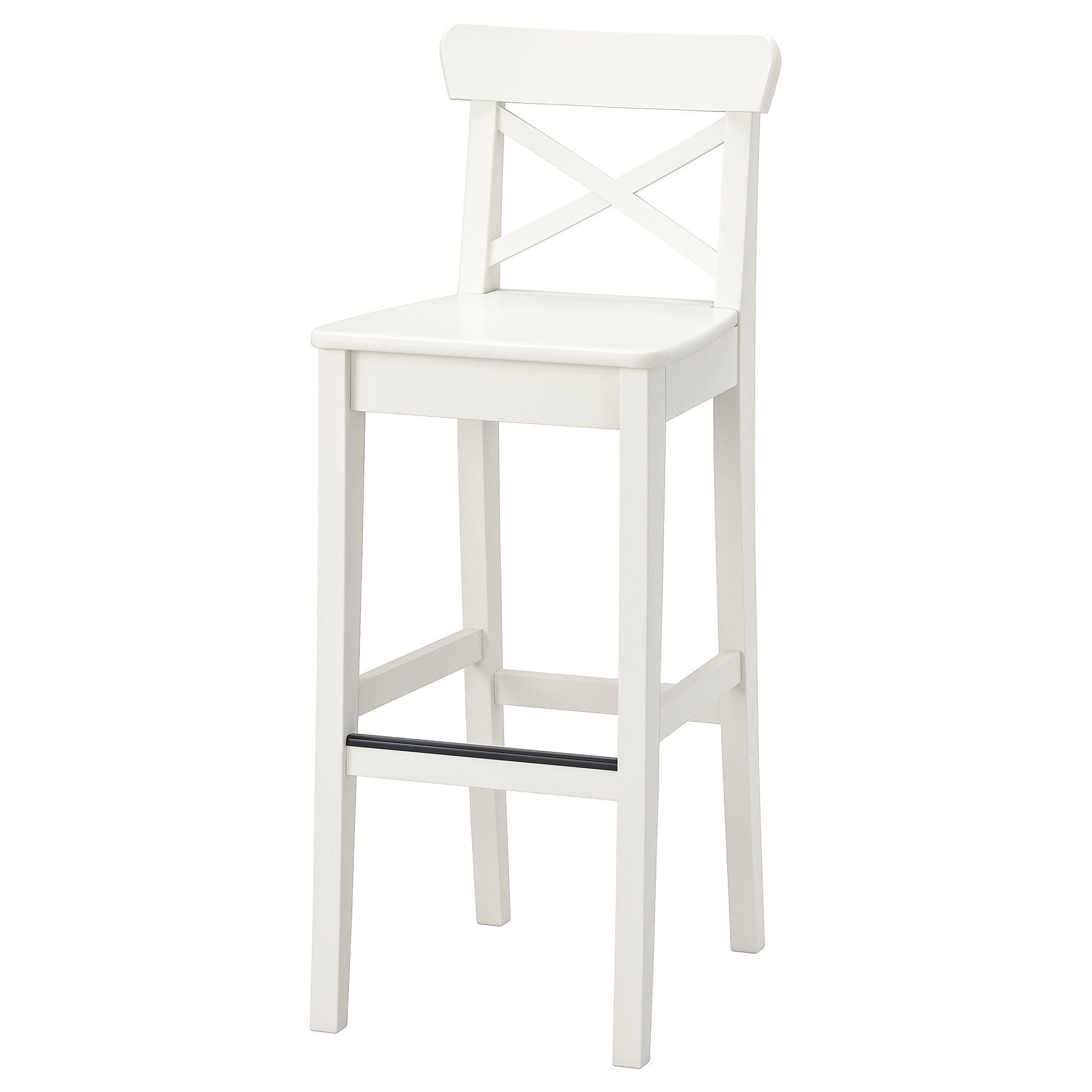 Ikea Ingolf White Bar Stool With Backrest Bar Furniture Bar Stools Ikea Bar