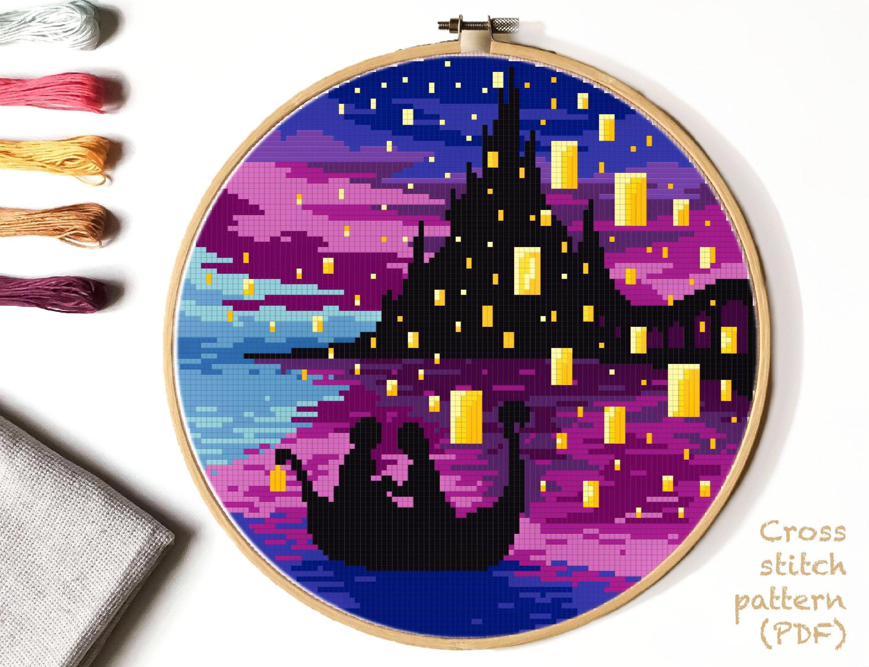 Landscape Cross Stitch Pattern, castle, river counted cross stitch chart, night sky cross stitch, hoop art, embroidery, instant PDF #colorpalettecopies