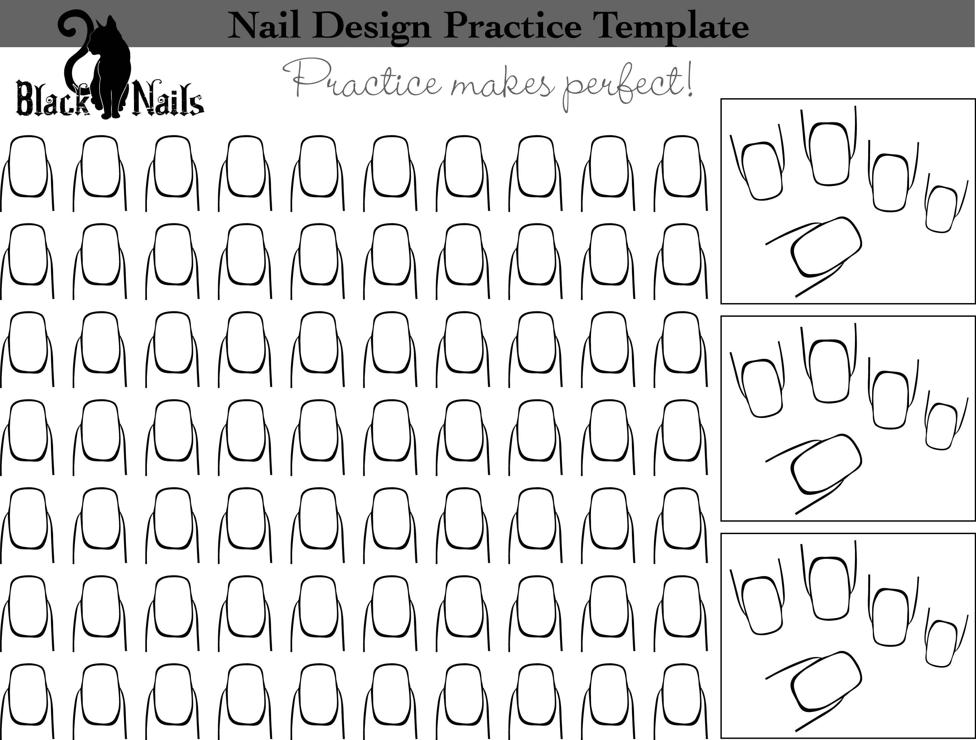 Nail Art Design Practice Sheet