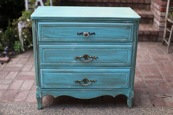 Vintage 3 Drawer Small Dresser Aged Tiffany Aqua Blue Small