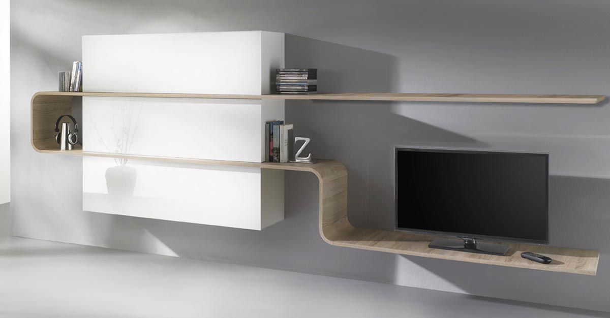 Mobili miliboo ~ Ensemble mural tv design laqué blanc et bois clair lanka miliboo