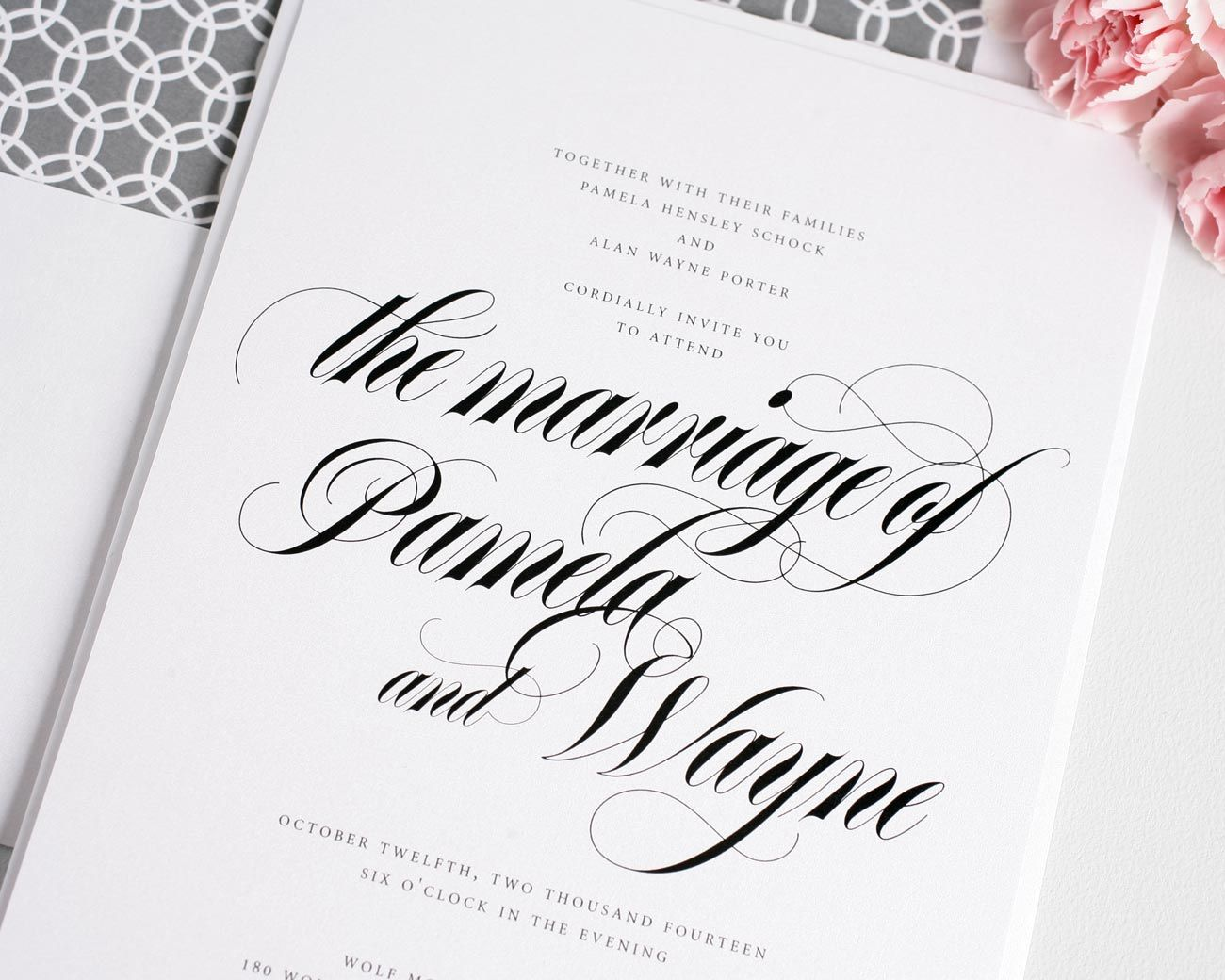 Calligraphy Wedding Invitations in Gray