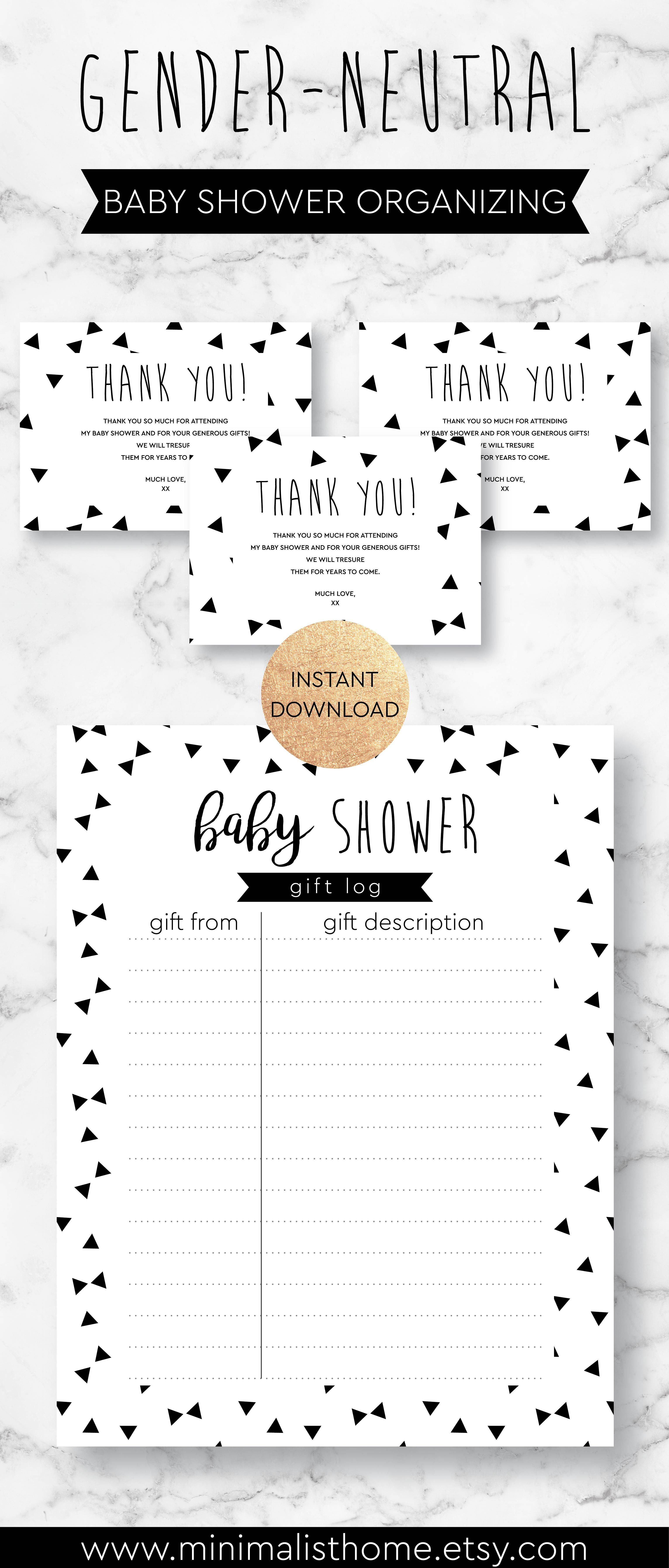Printable Baby Shower Gifts Log For Gender Neutral Baby Shower