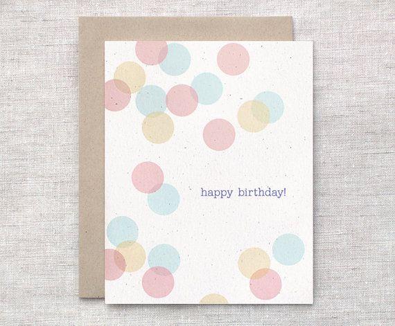 Eco Friendly Birthday Card  Transparent Circles by HappyDappyBits, $4.00