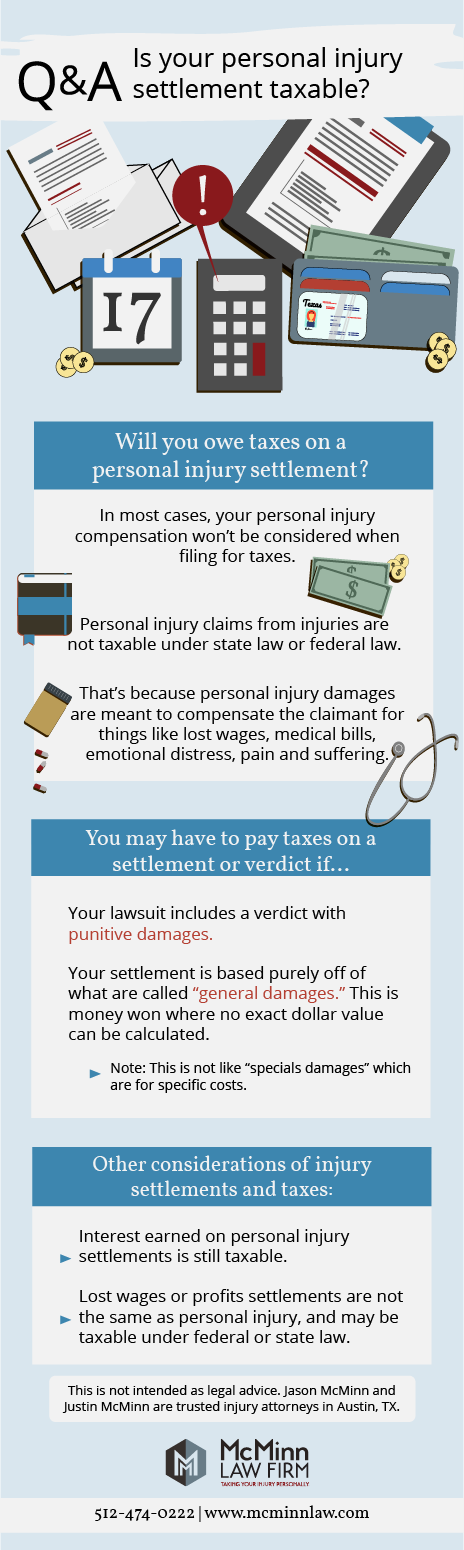 Do You Have To Pay Taxes On A Settlement Personal Injury Settlements Are Not Usually Taxable Though T Punitive Damages Personal Injury Lawyer Personal Injury