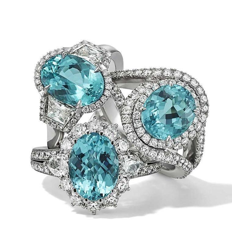 A Selection Of Brazilian Paraiba Tourmaline and Diamond Rings by ...