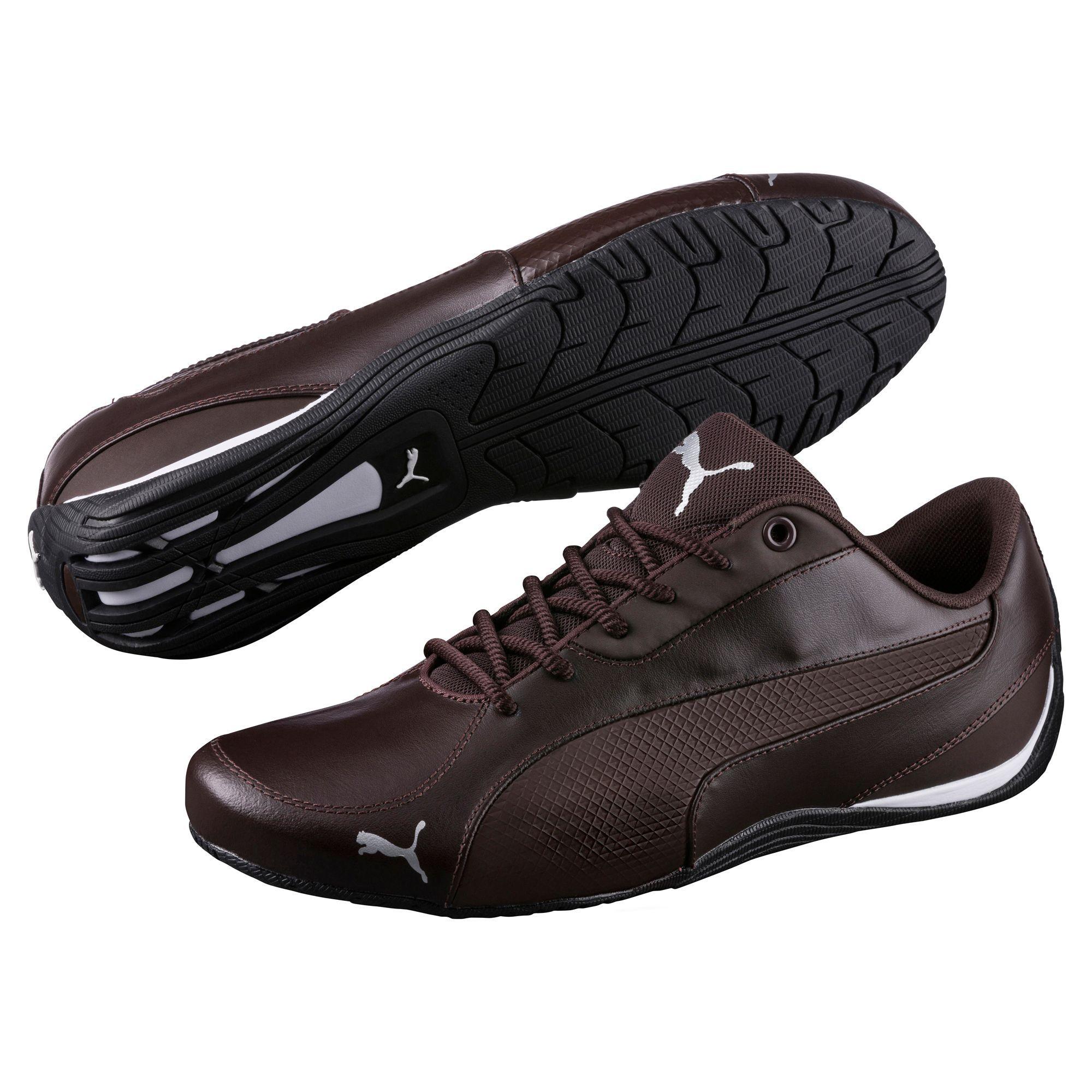 b0d9fd6d568d01 Brązowe buty męskie #Puma, model DRIFT CAT 5 CORE, wykonano z najwyższej  jakości skóry naturalnej oraz materiałów syntetycznych.