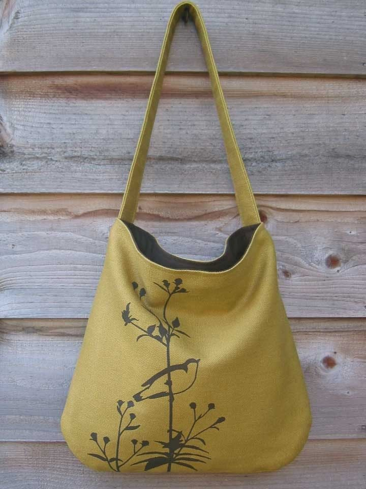 1deb517148b1 Eco-friendly Hemp Bag with Songbird on Flower Organic Cotton Lining - Deep  Golden Mustard