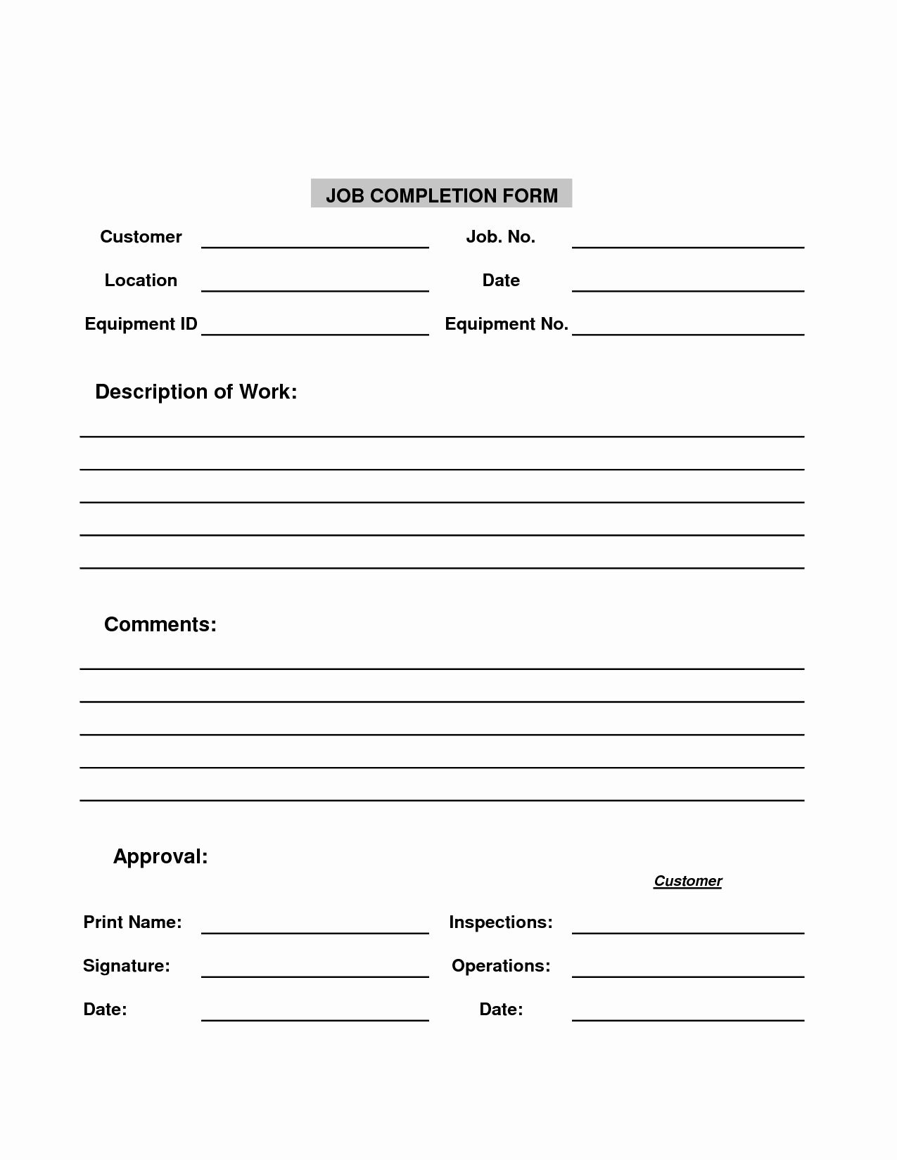 30 Work Completed Form Template In