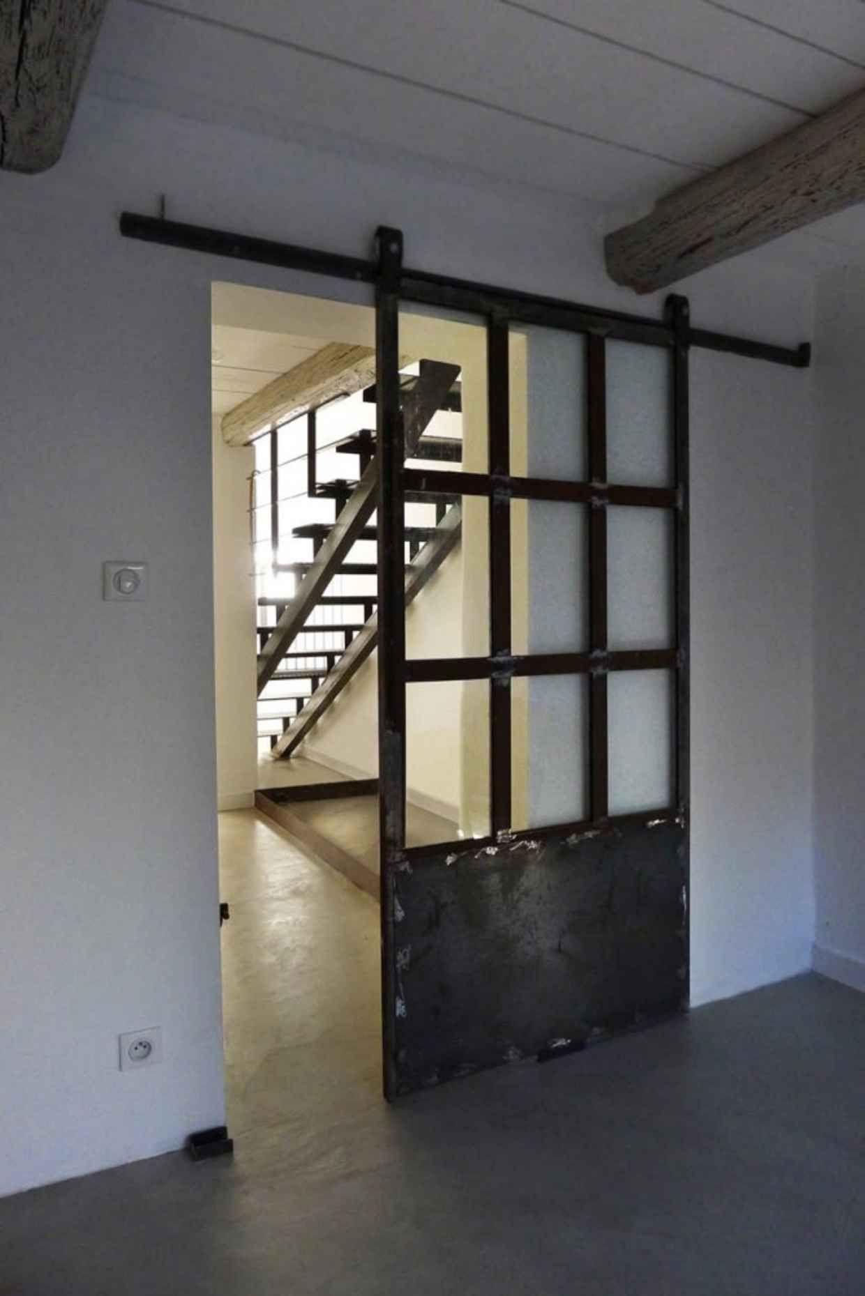 Industrial Metal U0026 Glass Door / Barn Door Slider / Home Decor