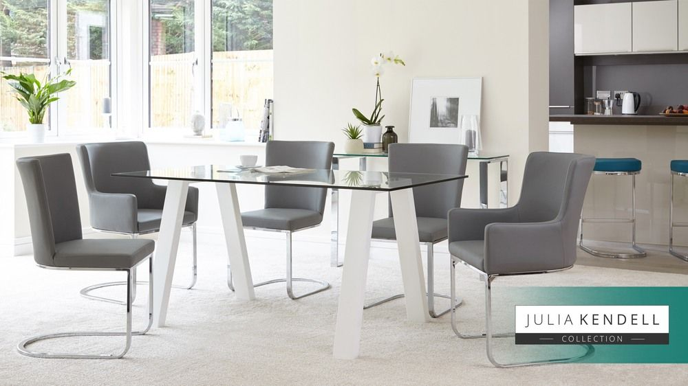 Zen And Form 6 Seater Gl White Gloss Dining Set Modern Table