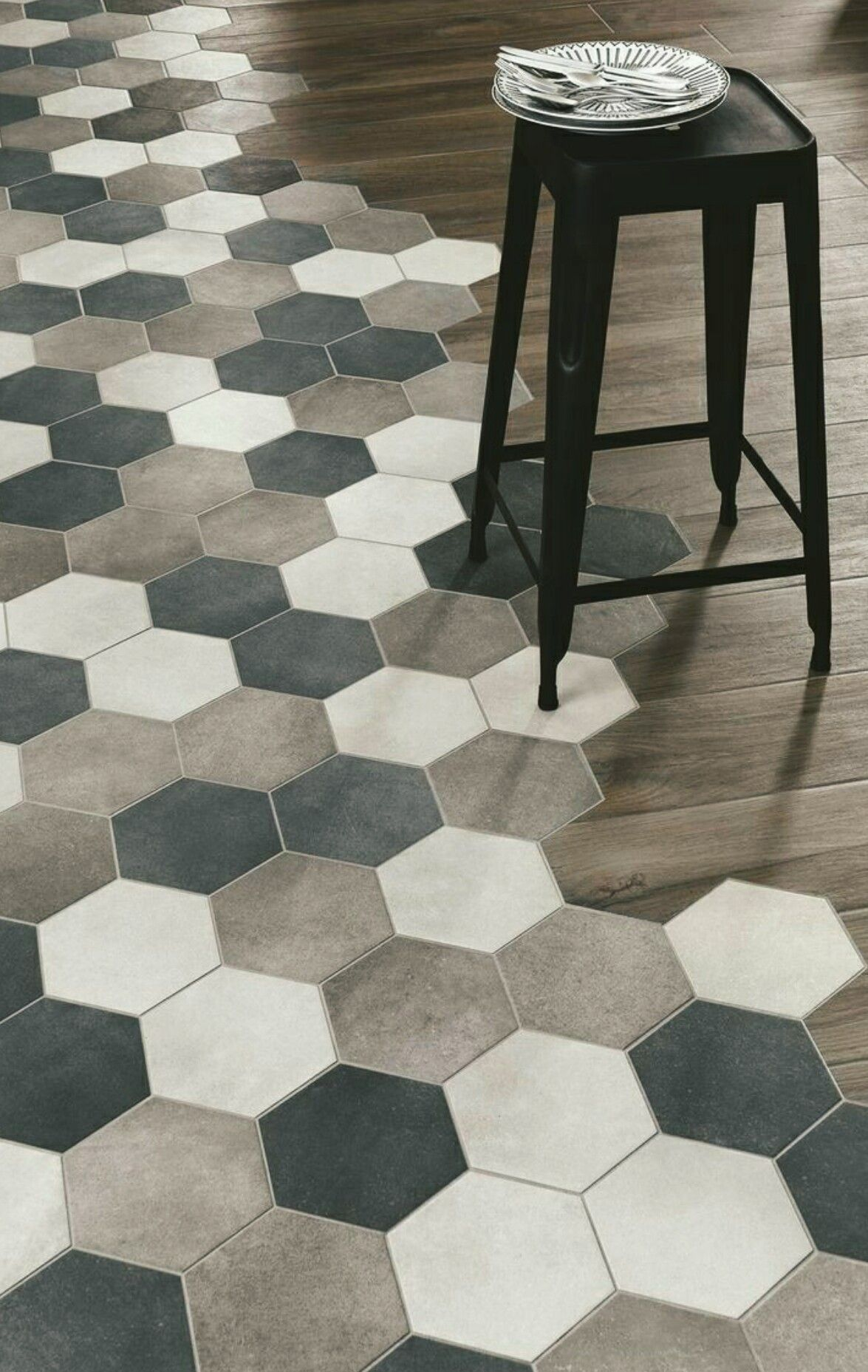 Interesting tile to wood floor transition | Interiors | Pinterest ...