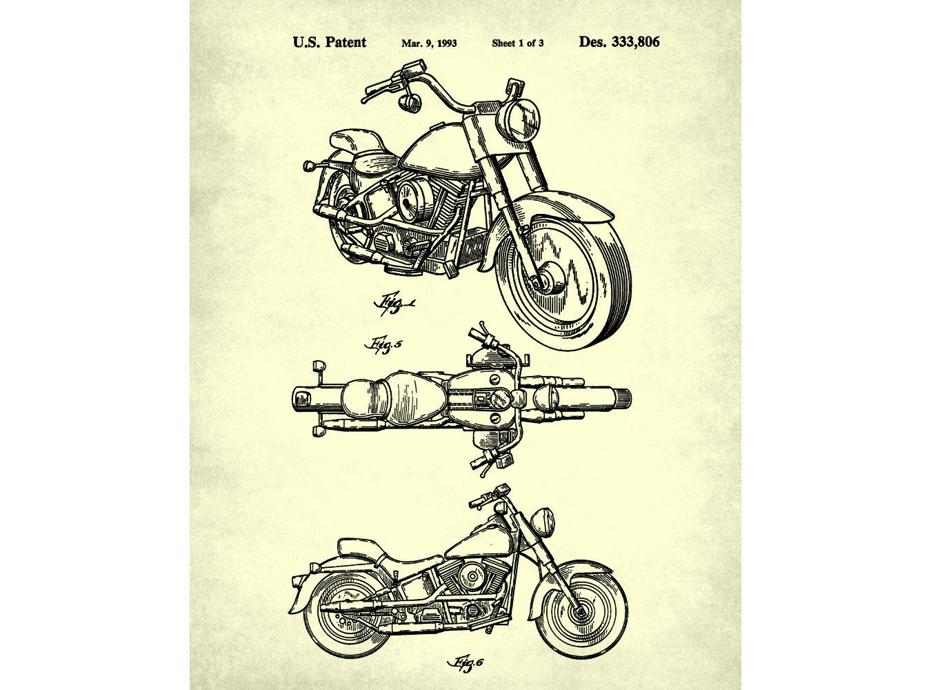 Harley Davidson Motorcycle Patent Print By Fabvintageposters Ara Harleydavidson Motorcycles This Diagram Provides A Parts Detail For