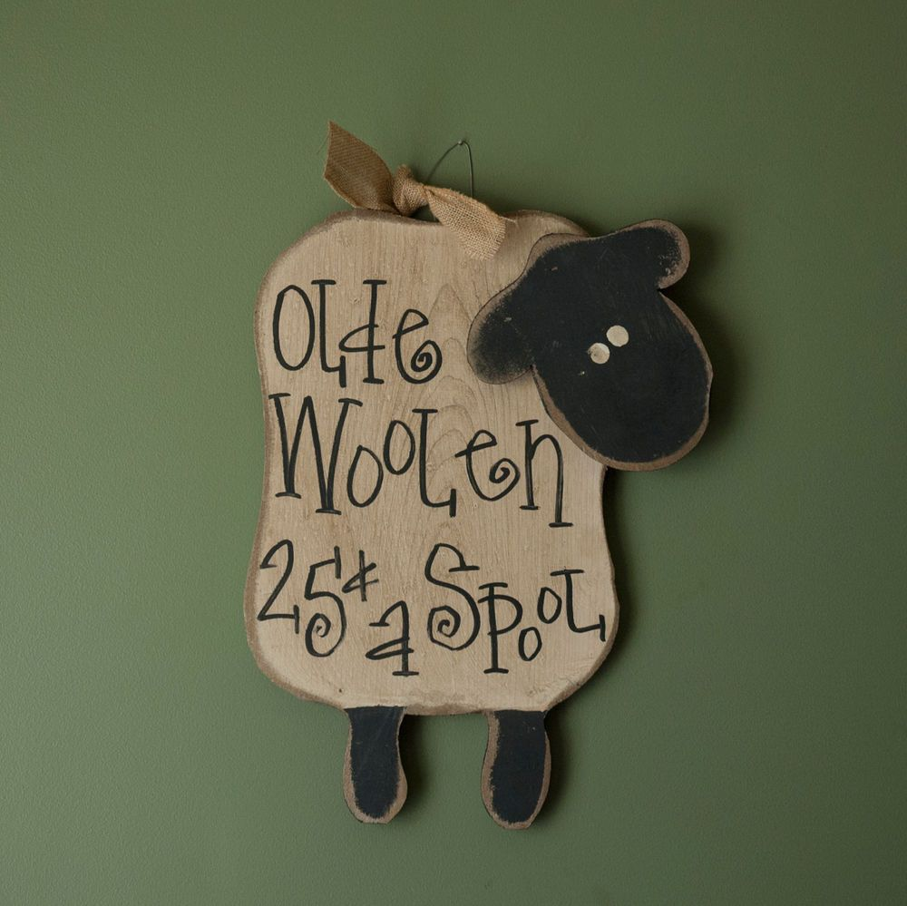 & Sign Wall Decor Primitive Country Hanging Wooden Woolen Sheep Plaque Sign Wall