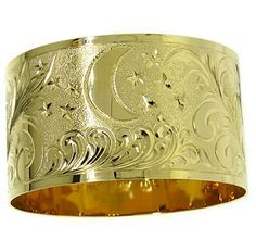 14k Gold Hawaiian Heirloom Bangle Bracelet 28mm Up Gbc3846h